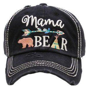 Mama Bear Black Distressed Adjustable Baseball Hat